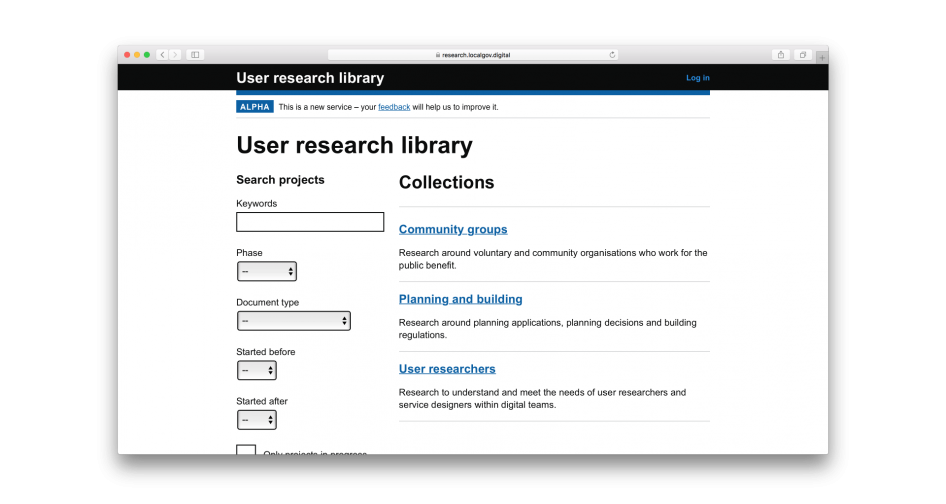 Collections view of the user research library