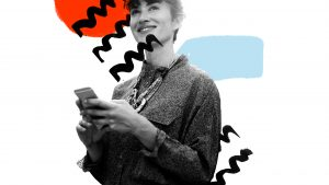 Hero image of a woman using a phone and looking happy