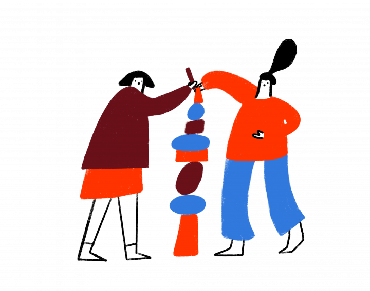 Illustration of two people working together