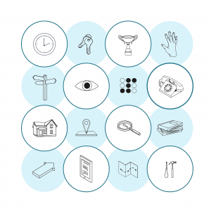 Icons from the Design Patterns for Mental Health website used to illustrate principles and patterns