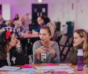 Three women in discussion at DOTI Fest 2019
