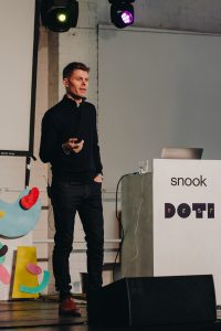 Person presenting at DOTI Fest