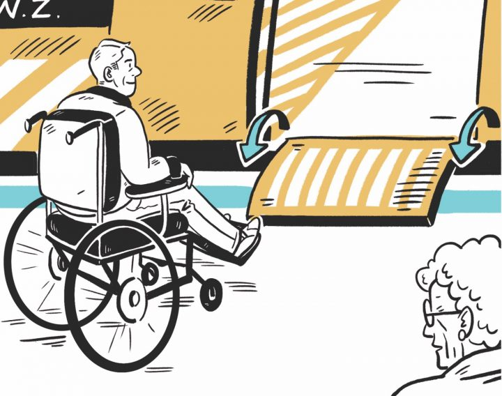 Illustration of man in wheelchair getting on a train via a ramp