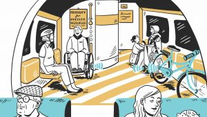 Illustration of people on a train in a bike, buggy and wheelchair area