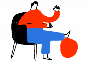 Illustration of person sitting in a chair waving with one foot on a resting on a ball