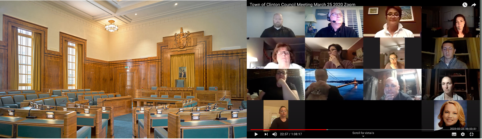 The need for rapid adaptation from a built for purpose physical space to working from home is not limited to the UK. Left: An image of the empty Hackney Town Hall, UK. Right: A recent council meeting in Clinton, USA