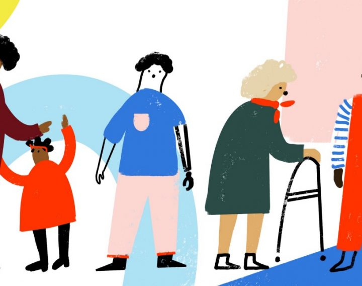 People of different ages and abilities including a small child and an elderly lady with a walking aid