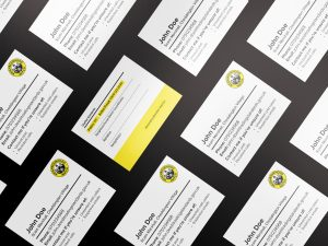 A photograph of Neighbourhood Watch branded calling cards for volunteers to use when visiting people