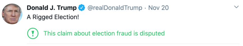 An example of claims from Donald Trump on Twitter with the Twitter warning on it.