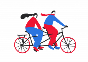 an illustration of two people riding on a tandem bicycle
