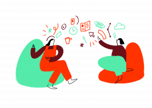 an illustration of showing two people having a discussion, with doodles in the air between them representing ideas
