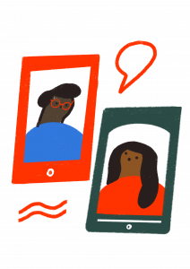 an illustration of two tablet devices showing people on the screens, with a speech bubble between them