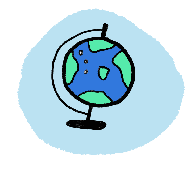 an illustration of a globe on a blue background