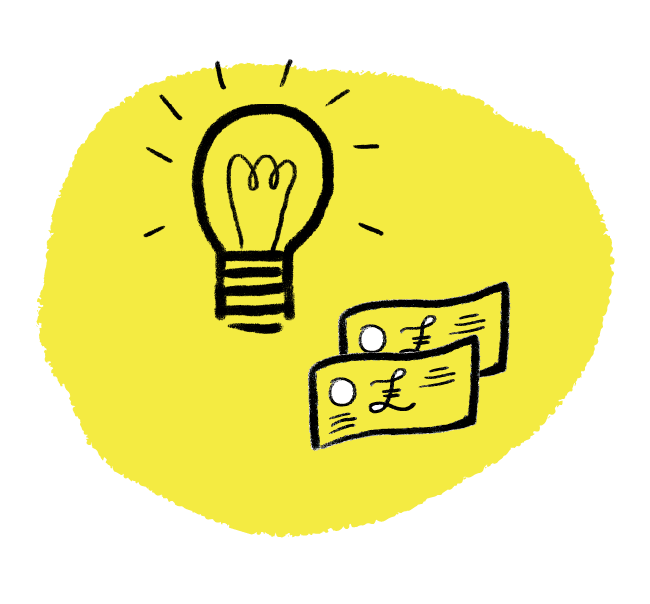 illustration of a lightbulb and some banknotes on a yellow background