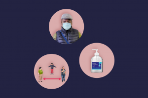 three circles containing photographs related to Covid safety: a man wearing a PPE mask, people practising social distancing and hand sanitiser