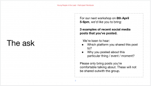 a screenshot of the work book pre-work task asking participants to bring examples of social media posts they've made recently and share where and why they posted