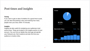 Screenshot of a slide from the social media guide suggesting how to use Instagram insights and what times are best to post to the platform