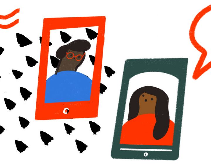 an illustration of two smartphones with young people on the screens