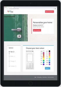 image of an ipad with a webpage showing options to personalise things like door colour and other interior elements of a new home