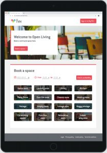 an ipad showing an online booking page for communal spaces - options for storage, events, private and community events are listed