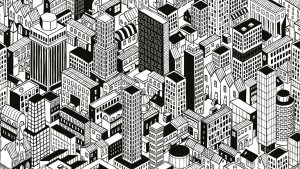 A black and white illustration of a very built up city
