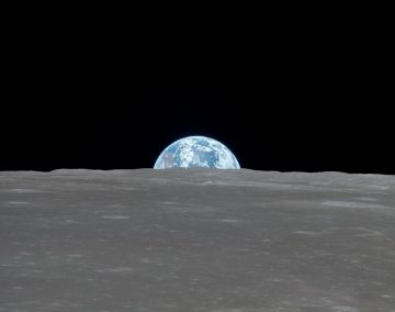 a photograph of the earth taken from the moon